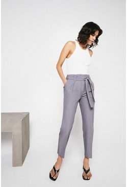 Mid grey Essential Tapered Peg Trouser With Tie Belt