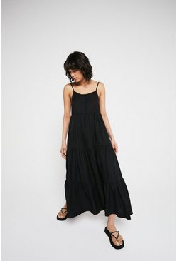 Black Tiered Button Front Midaxi Dress