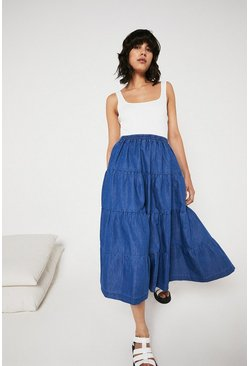 Mid wash Chambray Tiered Midaxi Skirt