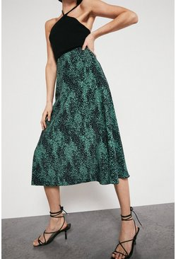 Midi Skirt In Green Animal Print