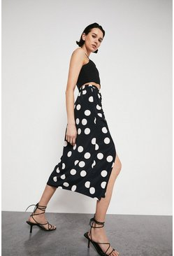 Mono Skirt With Ruched Side In Spot