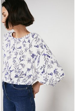 Top With Puff Sleeve In Blue Floral