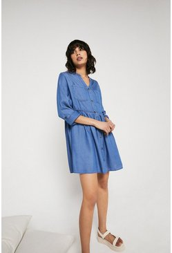 Light wash Denim Look Tencel Collarless Dress