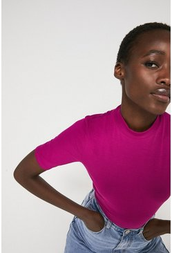 Hot pink Funnel Neck Half Sleeve Top