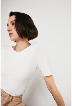 Ivory Slash Neck Half Sleeve Top