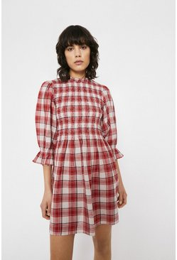 Red Check Smocked Puff Sleeve Mini Dress