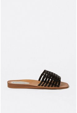 Black Woven Slip On Sandal