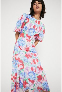 Blue Midi Dress With Dip Hem In Floral