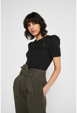 Black Broderie Yoke Short Sleeve Top