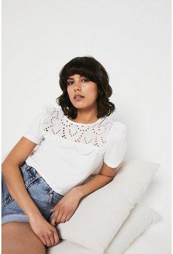 White Broderie Yoke Short Sleeve Top