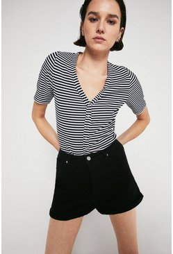 Navy Stripe Rib Half Sleeve Popper Top