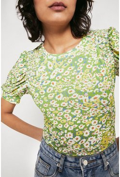 Green Printed Shirred Shoulder Short Sleeve Top