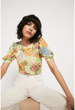 Yellow Printed Shirred Shoulder Short Sleeve Top