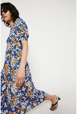 Blue Printed Shirred Shoulder Midi Dress