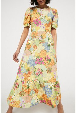 Yellow Printed Shirred Shoulder Midi Dress