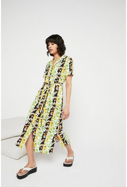 Multi Printed Floral Stripe Collared Shirt Dress