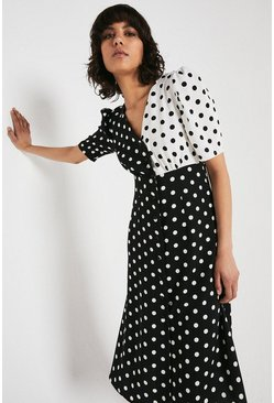 Black Midi Dress With Button Front In Spot