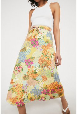 Yellow Printed Elastic Waist Midi Skirt