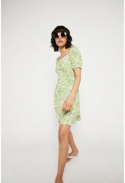 Green Printed Square Neck Puff Sleeve Dress