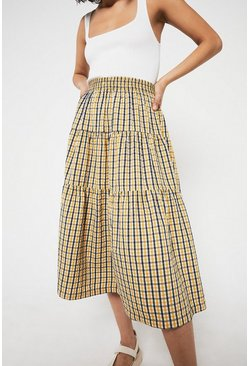 Yellow Check Tiered Midi Skirt