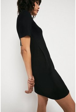 Black Slash Neck Short Dress