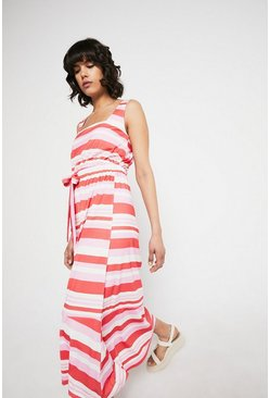 Pink Printed Stripe  Square Neck Midi Dress