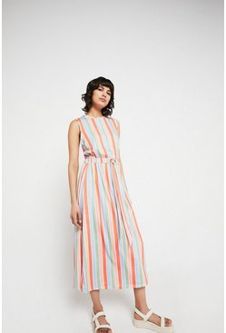 Multi Printed Stripe Tie Waist Midi Dress