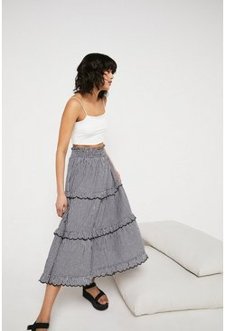 Mono Gingham Scallop Frill Tiered Midi Skirt