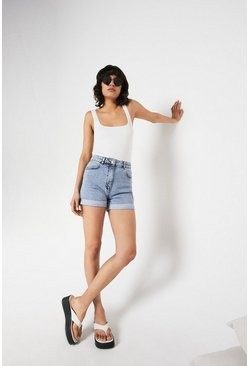 Light wash Organic Cotton Denim Mom Shorts