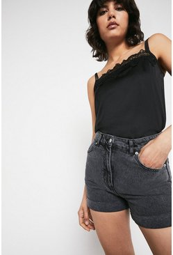 Washed black Organic Cotton Denim Mom Shorts