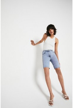 Light wash Organic Cotton Denim Longline Shorts