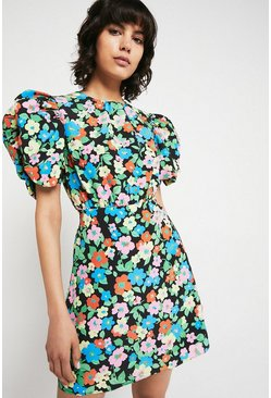 Multi Mini Dress With Cutout Back In Retro Floral