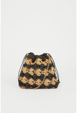 Black Mixed Straw Bag