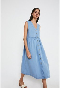 Light wash Denim Sleeveless Smock Midi Dress