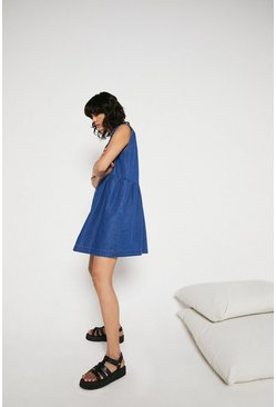 Mid wash Denim Sleeveless Smock Mini Dress