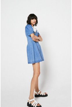 Light wash Denim Collar Detail Mini Dress
