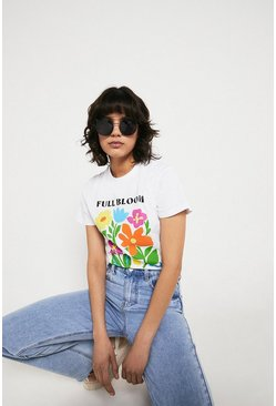 White Full Bloom Printed Tee