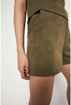 Khaki Animal Jacquard Shorts