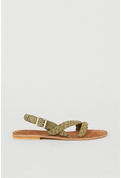 Khaki Real Suede Braided Sandal
