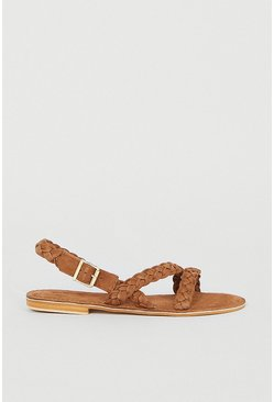 Tan Real Suede Braided Sandal