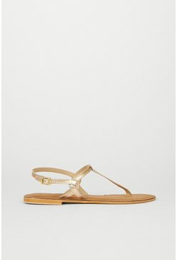 Gold Real Leather Minimal Sandal