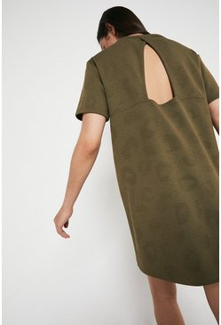 Khaki Animal Jacquard Cut Out Back Sweat Dress