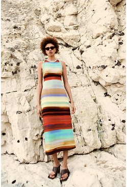 Multi Stripe Racer Midi Dress