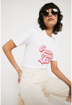 White Peace And Love Tee