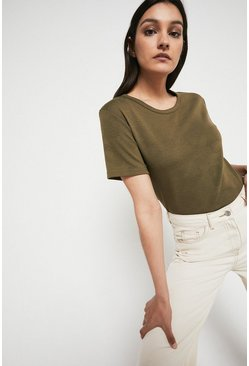 Khaki Animal Jacquard Short Sleeve Sweat