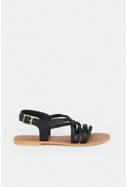 Black Real Leather Braided Strappy Sandal