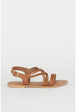 Tan Real Leather Braided Strappy Sandal