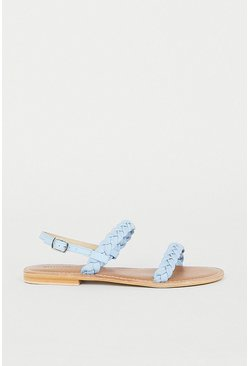 Pale blue Real Leather Braided Sandal