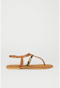 Tan Real Leather Animal Mix Toe Thong Sandal