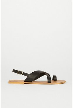 Black Real Leather Strappy Sandal